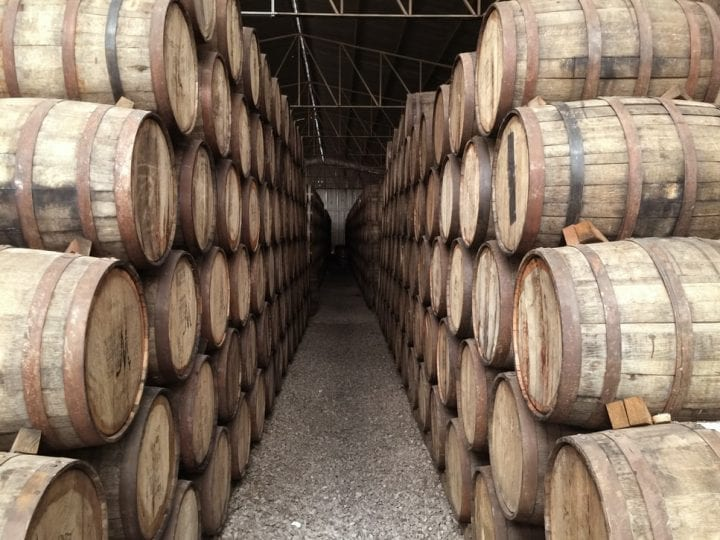 Whiskey casks held in a warehouse