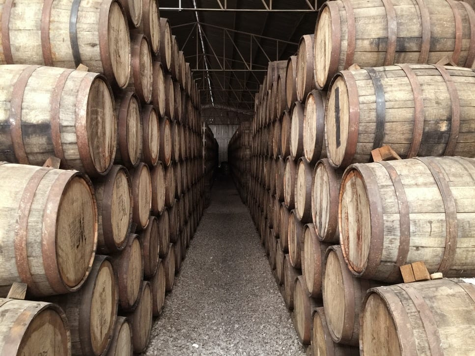 Whiskey casks held in warehouse